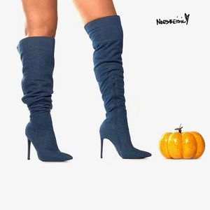 Denim Thigh High Denim Stilleto Boots
